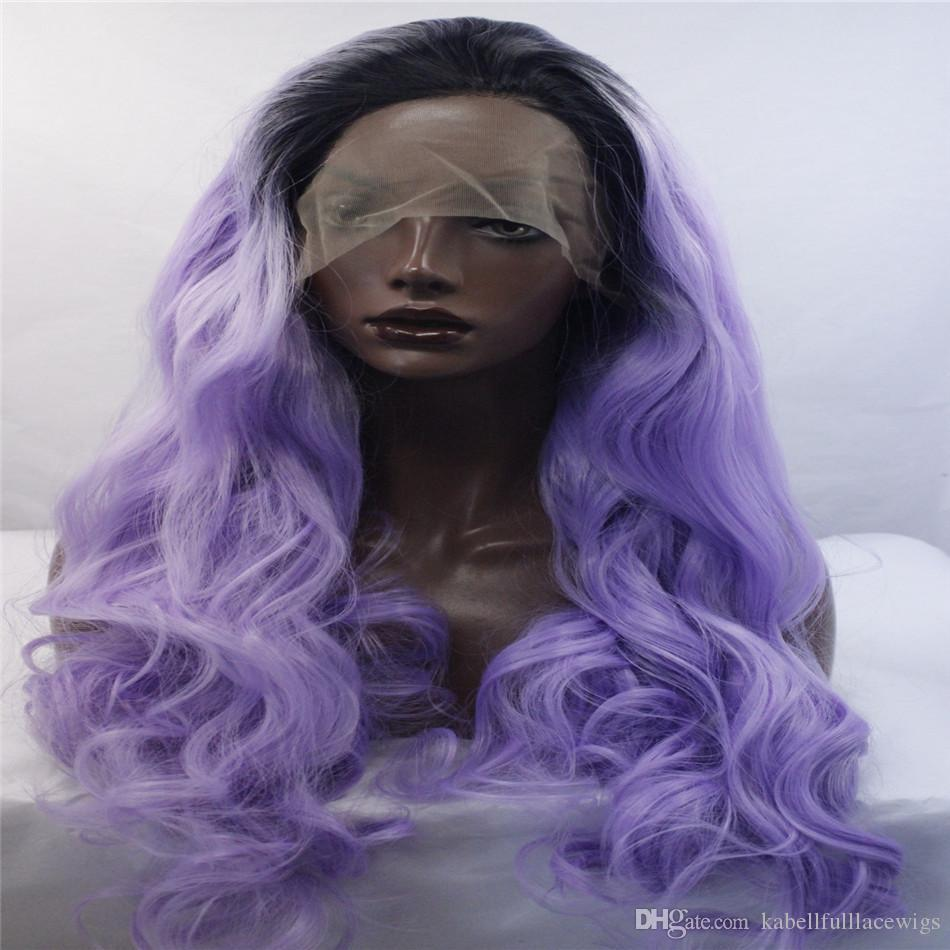 kabell Fashion lave front wigs Synthetic lace front wig purple growing wave hands bound wig women Curly hair African American fashion wig