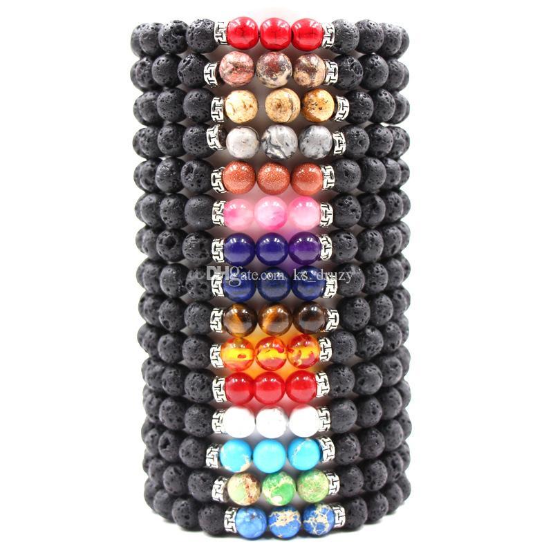 Colori vari Braccialetti elastici in pietra lavica nera naturale Braccialetto con diffusore di olio essenziale Braccialetti con perline di roccia vulcanica