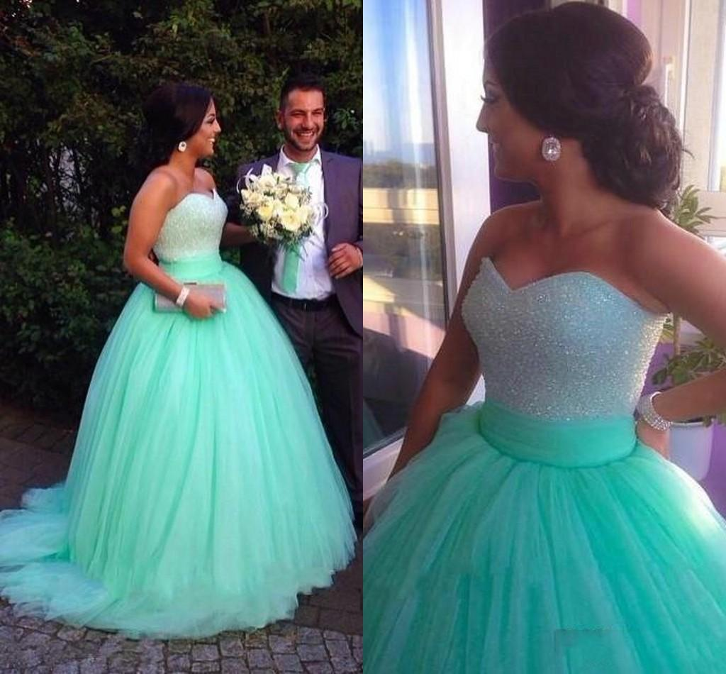 Mint Green Ball Gown Muslim Wedding Dresses 2016 Floor Length Beads ...