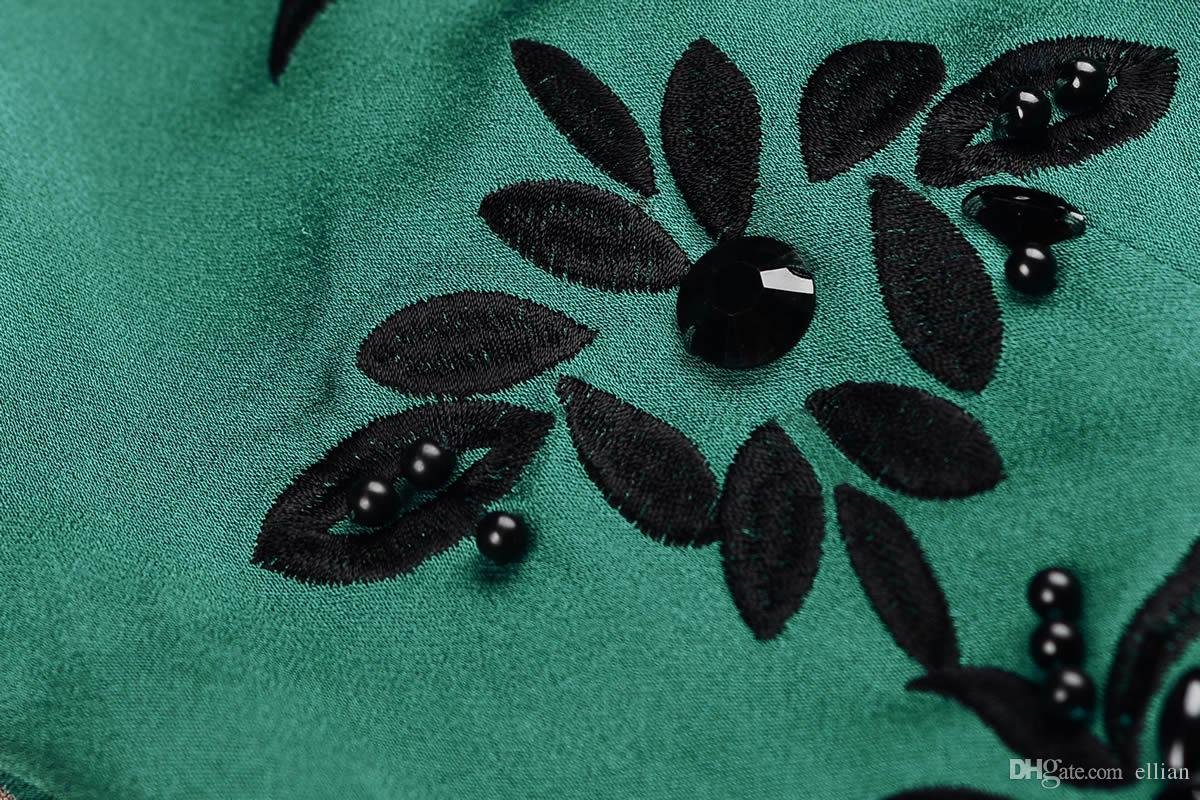 Роскошные Женщины Вышивка Трапеция Платье Мода Бисером Шею Платья 15105811