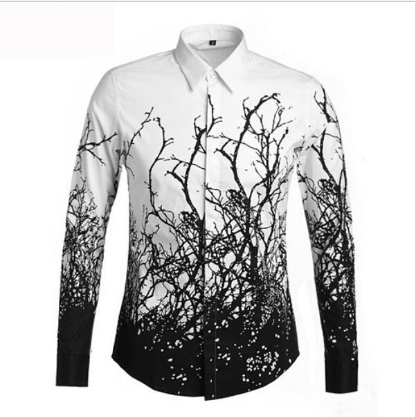 2015/2016 Fashion Trends Men'S Tree Branches Pattern Long Sleeved ...
