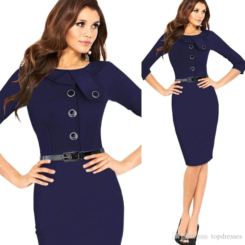a48a1db1b3 2019 2015 Formal Women Work Dresses Bodycon OL Work Pencil Dresses Elegant  Summer Office Ladies Dresses With Long Sleeves Knee Length From Topdresses