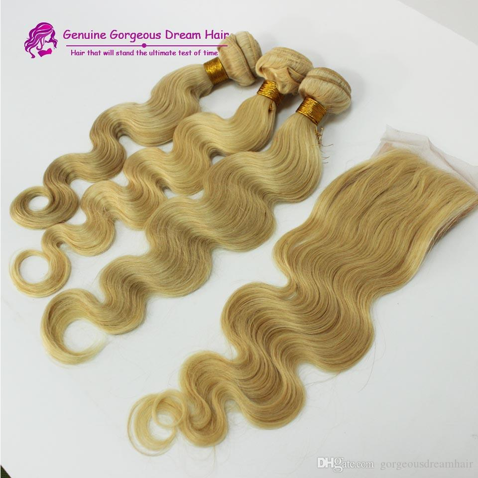 613 Russian Blonde Virgin Hair With Closure 3 Bundles With 4*4 Lace Closure Top Body Wave Human Hair With Free Part Closure