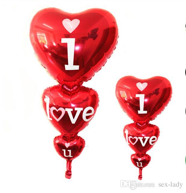 128 cm * 60 cm corazón romántico I Love You Globos de papel de aluminio Día de San Valentín Boda Fiesta de cumpleaños Globos grandes Juguetes inflables Clásico