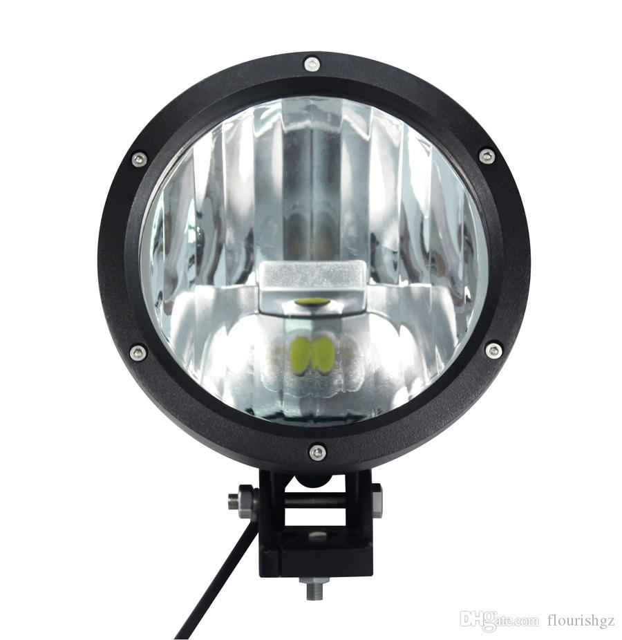 """EMS 9"""" 50W CREE LED Driving Work Light 2COB*25W CHIP Offroad SUV ATV 4WD 4x4 Spot Pencil Beam 12/24V 5000lm Xenon White 6K Replace HID"""