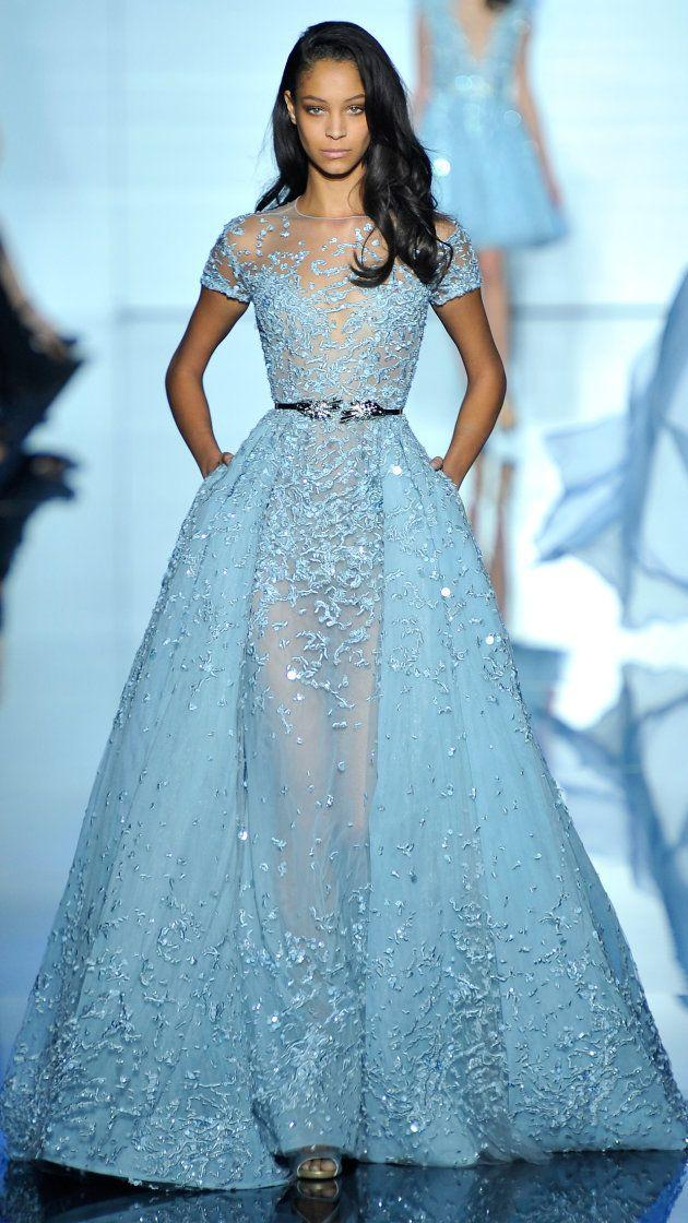 Elie Saab Evening Dresse 2016 Illusion Sheer Skirt Sky Blue Evening G