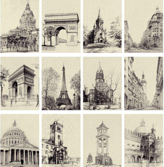 Laverton go travel famous european buildings black and white sketch laverton go travel famous european buildings black and white sketch vintage postcardsmessage cardgreeting cards 1lotgift cards buy buy online gift card m4hsunfo