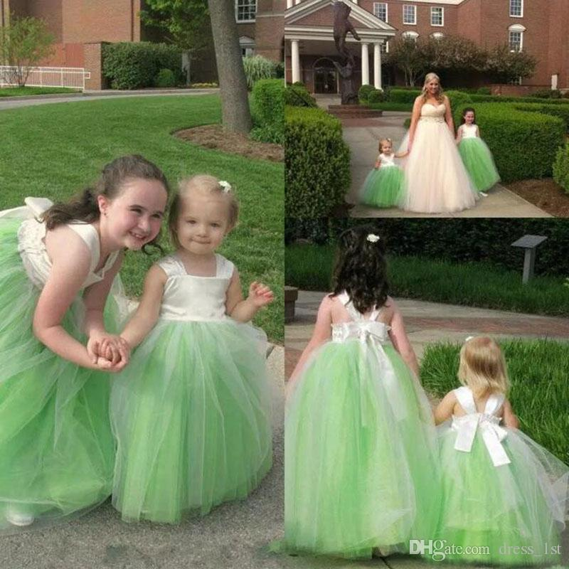 Lovely 2017 Ball Gown Flower Girl Dresses For Weddings Cheap Ivory Satin Top Green Tulle Girls Pageant Gowns Custom Made China EN10308