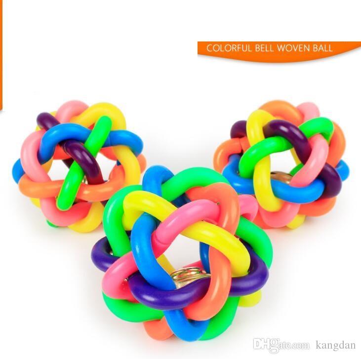 6 cm cão de estimação mastiga brinquedos coloridos sino tecido bola Resistente à abrasão dentes de limpeza pet filhote de cachorro brinquedo gato soando rainbow ball pet suprimentos