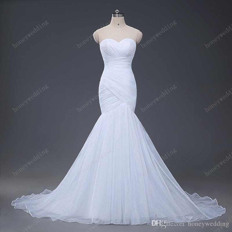 Stock Sexy sirena vestidos de novia 2017 vestidos de boda sin tirantes trompeta nuevo diseño blanco marfil tul vestidos de novia vestido de novia caliente