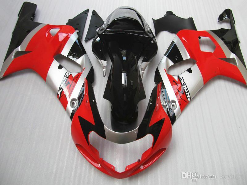 Passa till Suzuki GSXR 600 750 Fairing GSX-R600 GSX-R750 2001 2002 2003 00 01 02 03 Sliver röda karosseri delar kit