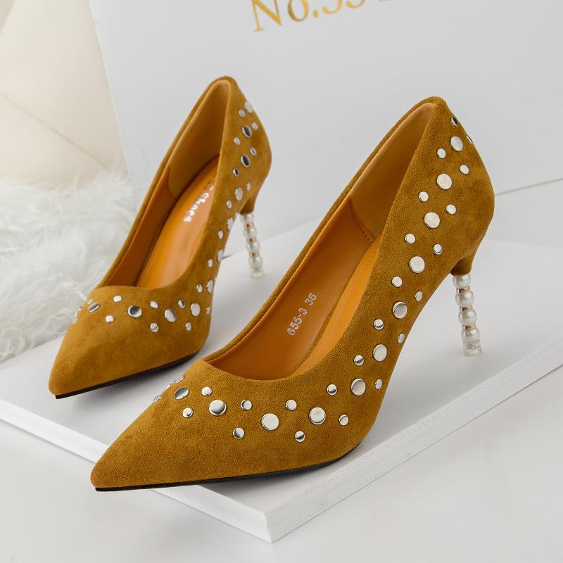1635c92d954220 Rivets Slip-on Lady Dress Shoes Women Pumps Heels PU Leather Pointed ...