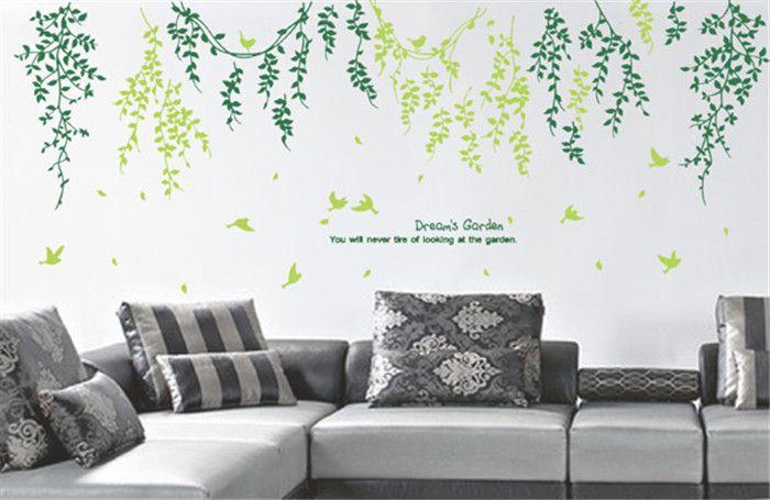 Grüne blätter mode kreative persönlichkeit wohnzimmer bad wandaufkleber wasserdicht hohe qualität abnehmbare pvc-aufkleber großhandel
