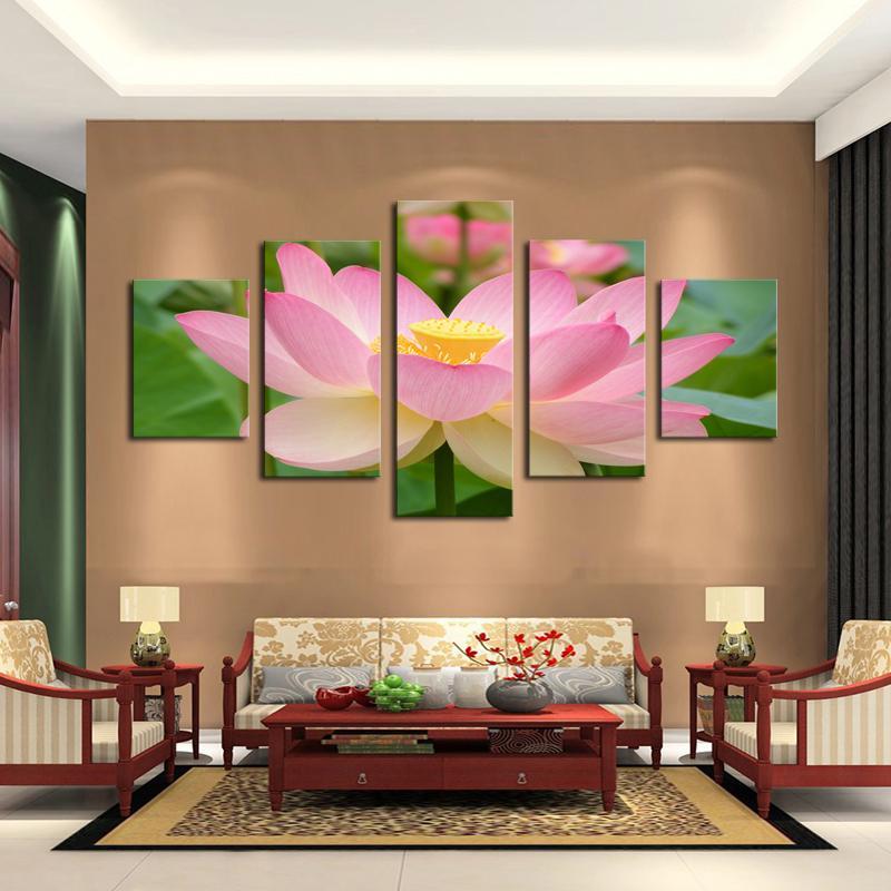 2020 modern wall art 5 panel lotus painting living room