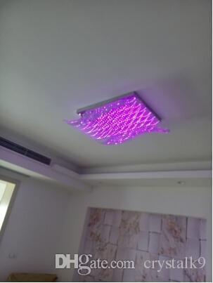 Moderne Minimalistische LED K9 Kristall Chadelier Rechteckige Glas Deckenleuchte wohnzimmer Hotel Kronleuchter Fernbedienung Licht