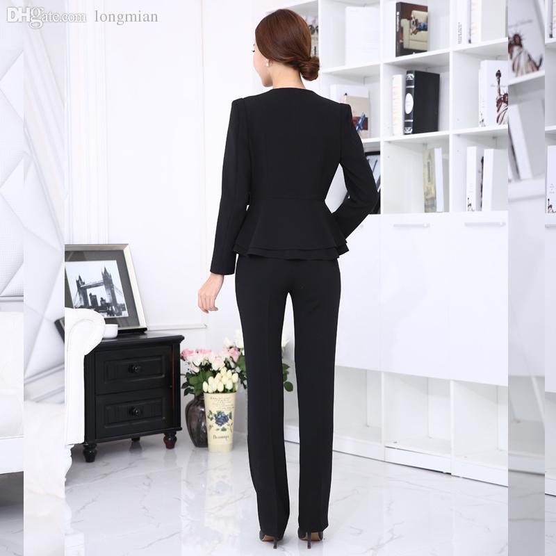 Compre Al Por Mayor Mujeres Traje De Pantalón De Oficina 2016 Otoño  Invierno Para Mujer Trajes De Negocios Formal De Trabajo De Oficina  Elegantes Pantalones ... 854b8a5d2bb4