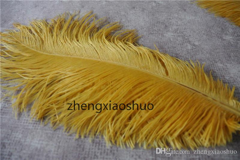 Wholesale 12-14inch30-35cm Gold ostrich feathers for Wedding centerpiece Table centerpieces Party Decoraction supply