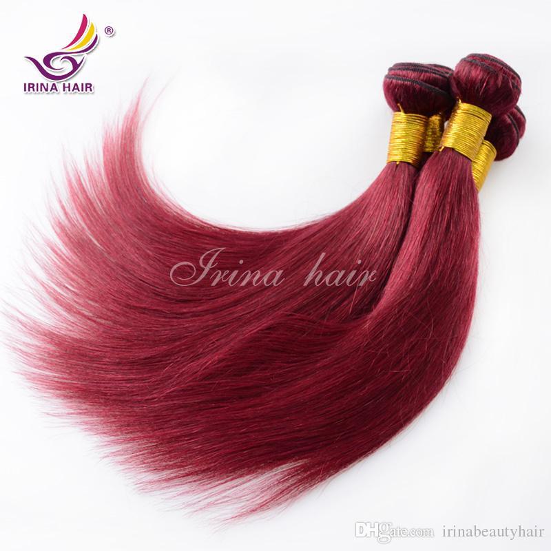 Bordo saç 99j Brezilyalı Bakire Saç düz bresilien vierge humain tissage cheveux düz kırmızı saç uzantıları 4 adet% 100% İnsan Saç