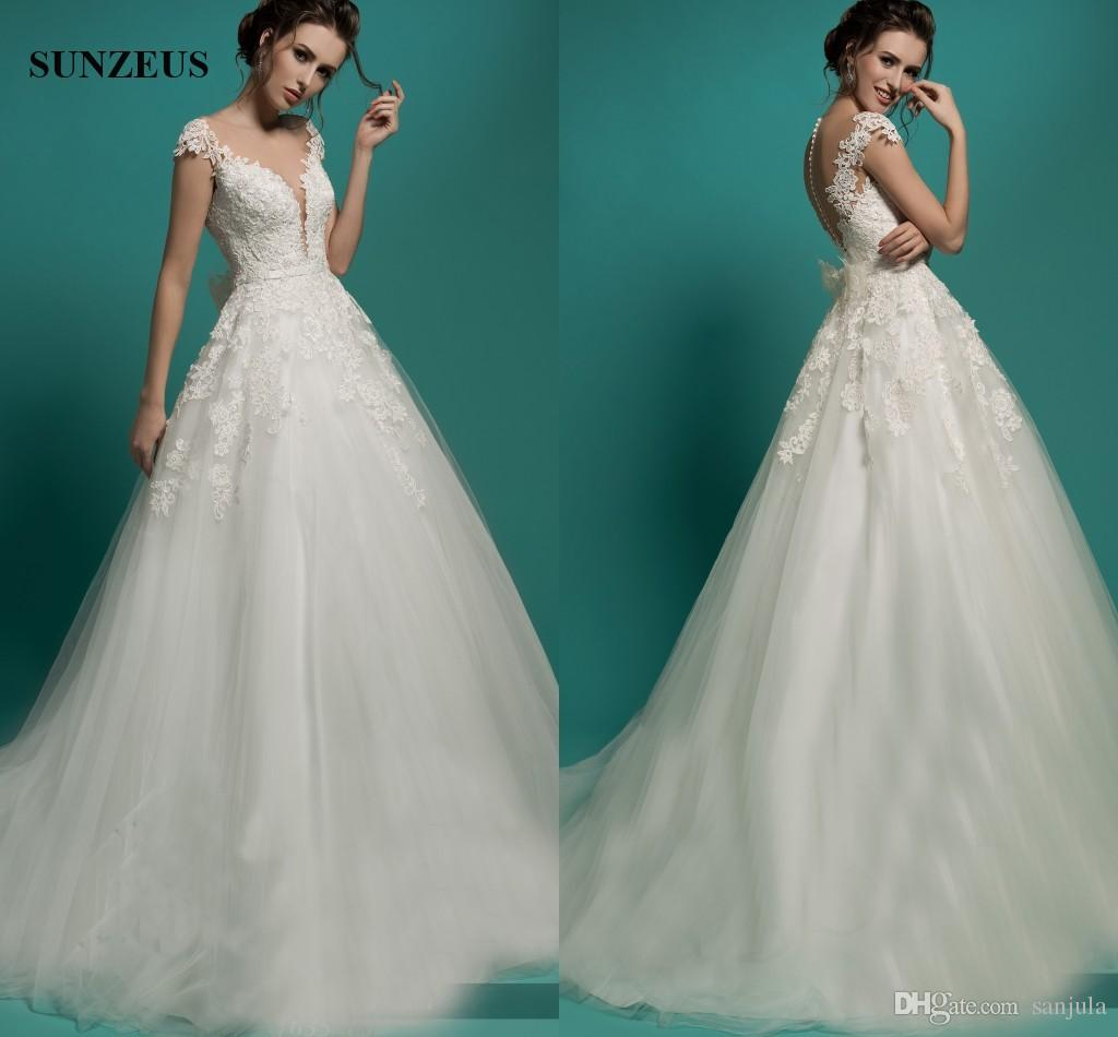 Discount A Line Illusion Neck Cap Sleeve Princess Wedding Dresses ...