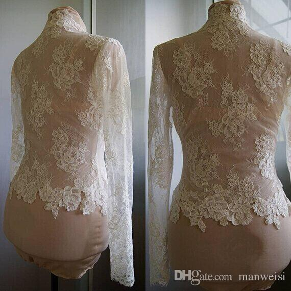 Hot Sale Lace Bridal Wraps Ivory Or White Jackets Long Sleeves Bridal Coat For Wedding Dresses Fast Shipping Bridal Accessories