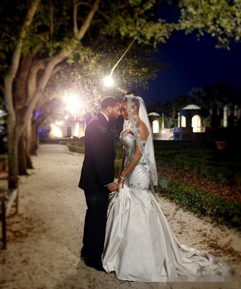 Сексуальная Русалка Свадебные Платья 2016 Милая Кристалл Из Бисера Свадебные Платья Пригородный Поезд Атласные Свадебные Платья На Заказ