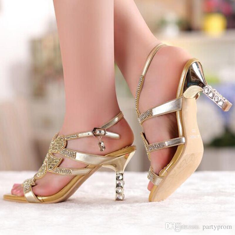 Gold Sandal Floral Crystal Rhinestones 8cm High Heels New High Quality Prom Evening Party Dress Women Lady Bridal Wedding Shoes