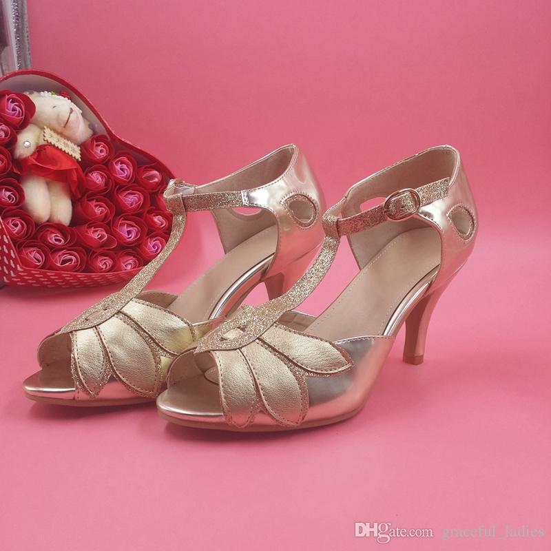 Vintage Altın Düğün Ayakkabı Kadın Pompaları Yavru Topuk T-Sapanlar Toka Kapatma Deri Parti Dans 3