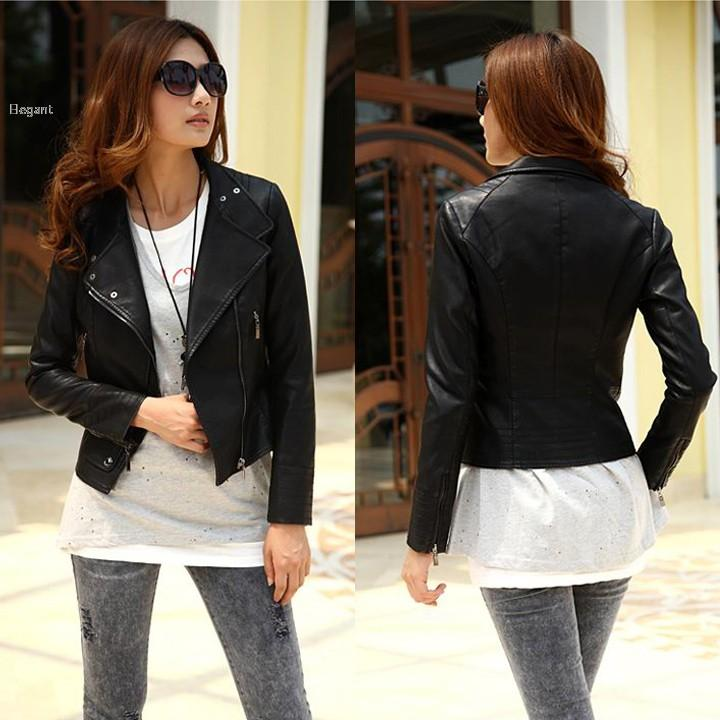 Women'S Girls Cool Stylish Jacket Zip Up Synthetic Leather Biker ...