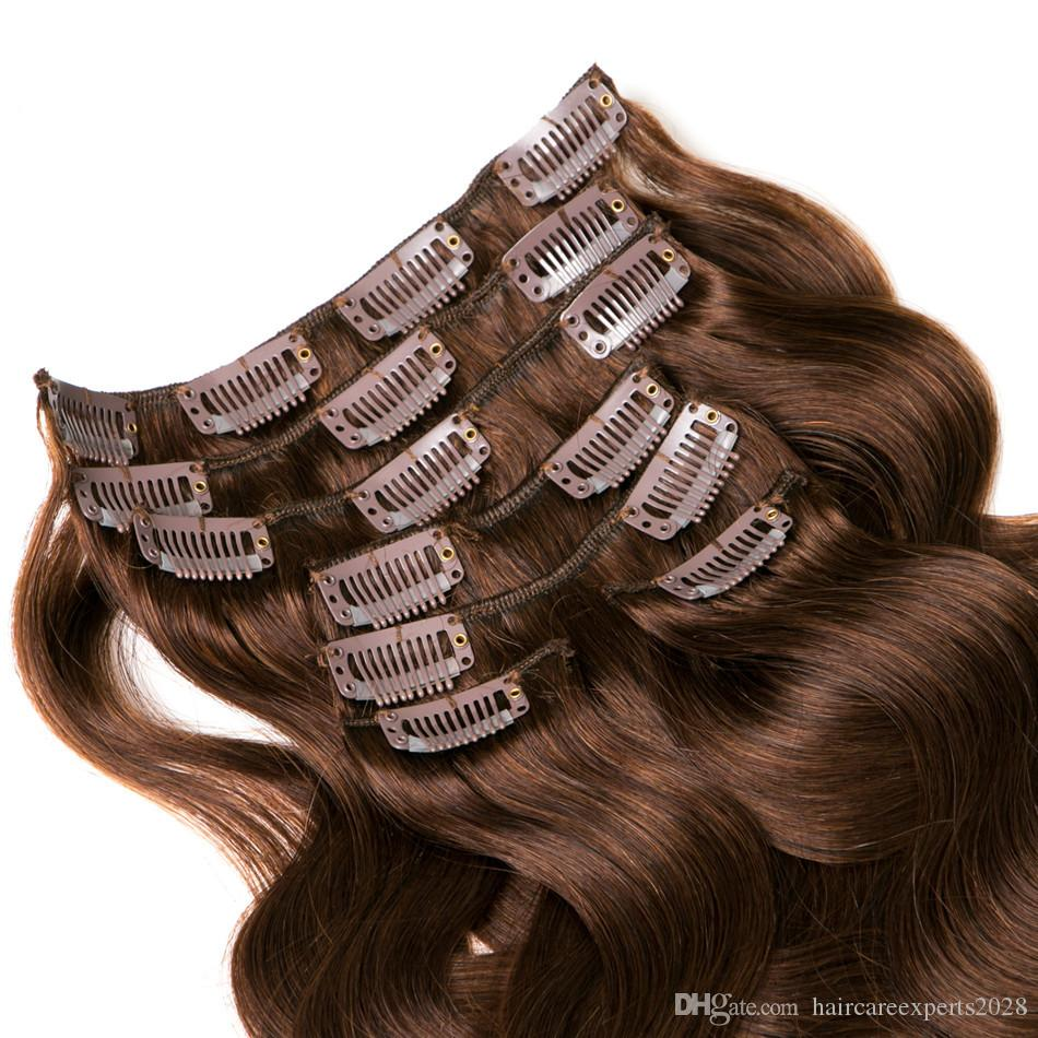 ELIBESS HAIR- Clip In Human Hair Extensions Non-Remy Hair 70g Brazilian Body Wave 16-24 inches Light Brown #4 Clip Ins