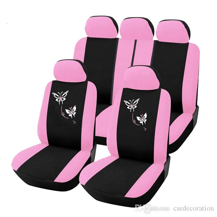 Pink Butterfly Embroidery Design Girly Front Rear Car Seat Covers Set Protector Styling Interior Accessories For Universal Auto Leather