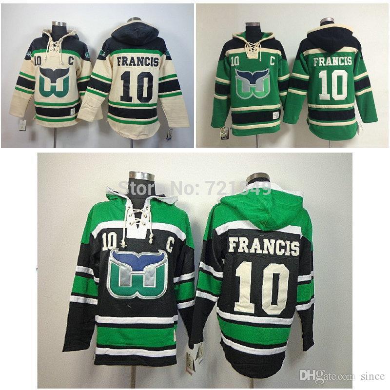 nhl hoodies hartford whalers 10 ron francis black green jerseys ... 03aef098f