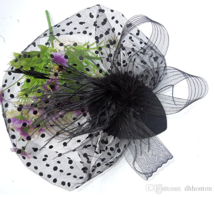 Cathedral veil The bride headdress feathers cover the face veil headdress hair lace with a little hat short veils HT18