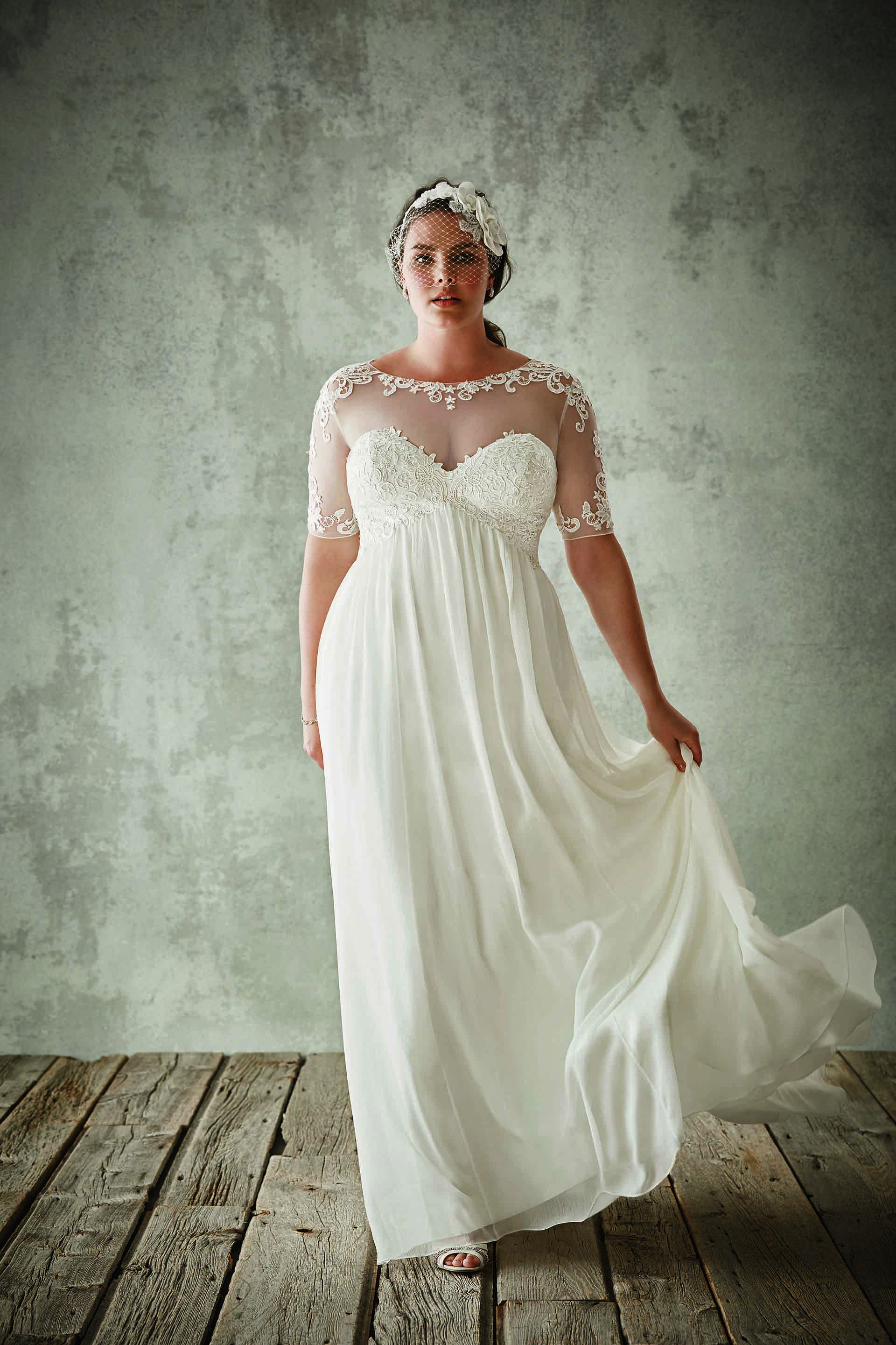 Discount fashion plus size wedding dresses with half sleeves sheer discount fashion plus size wedding dresses with half sleeves sheer jewel neck a line lace appliqued bridal gowns chiffon empire waist wedding dress ombrellifo Image collections
