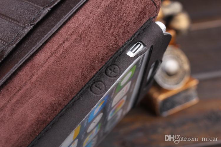 Flip genuíno carteira de couro estilo livro antigo case para iphone 5 5g 4g iphone6 4.7 plus cor marrom sem embalagem de varejo