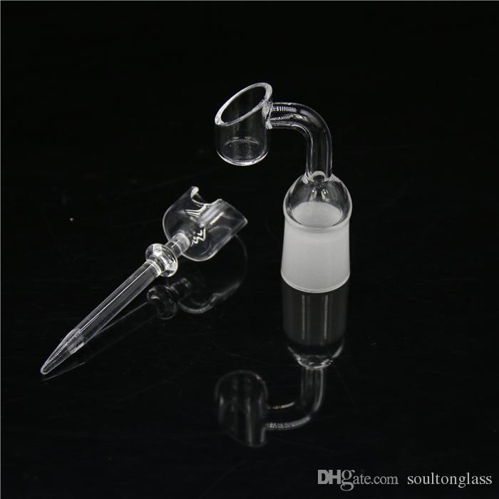 Soulton Glass Handmade Uñas de cuarzo 14 mm 18 mm con la bobina 18 mm Carb Cap aceite aceite Dabber Quartz Nail Cap Set venta al por mayor QN-006 + QN-022
