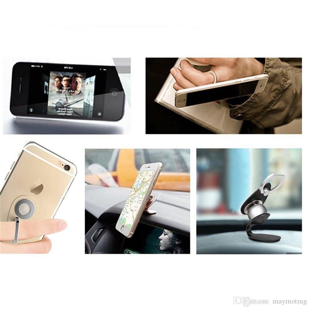 Magnetic metal ball 360°rotate cell phone ring holder car mount Holders Magnetic Holder 2 in 1 Car Mount Dashboard Mount Stand