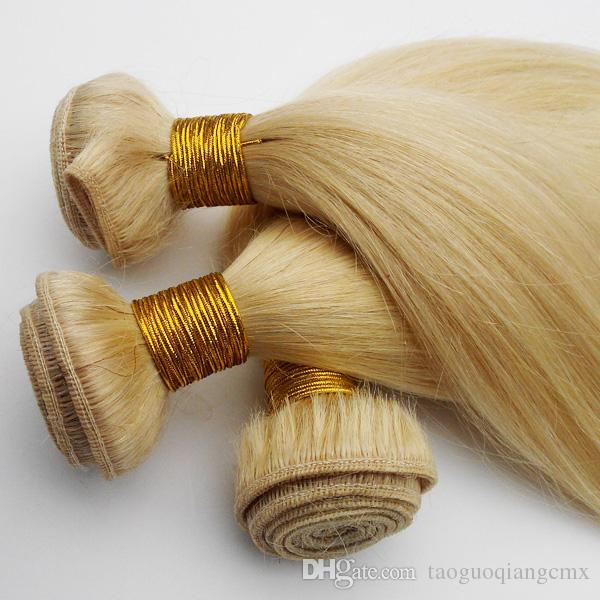 Brazilian Human Hair Straight 613# Light white Machine double weft Best quality Europe American hair extensions Indian remy hair