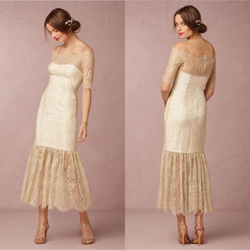 Bhldn 2015 Summer Beach Wedding Dresses Sheath Lace Half Sleeves ...