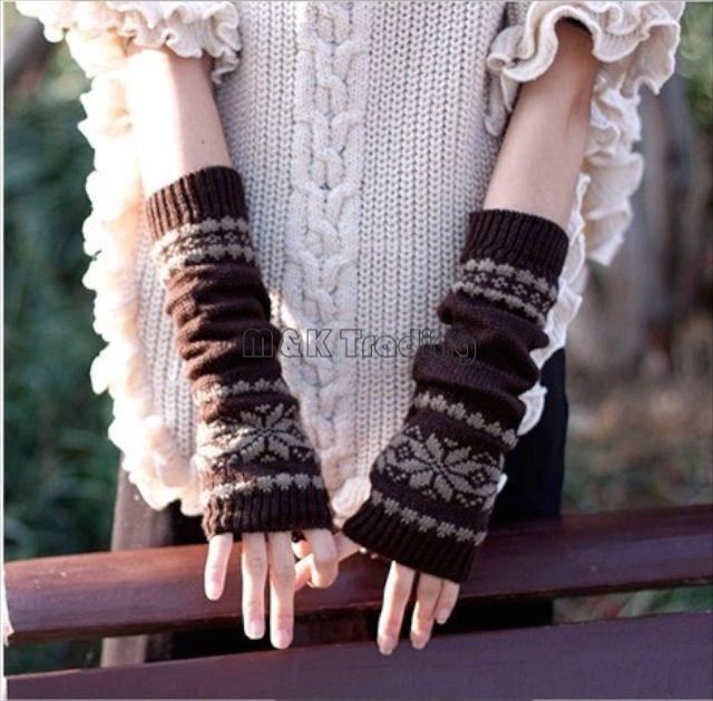 Long Snowflake Knitted Glove Warm Hand Wrist Oversleeve Fingerless Gloves Fashion Women Winter Crochet Glove Cotton Blend