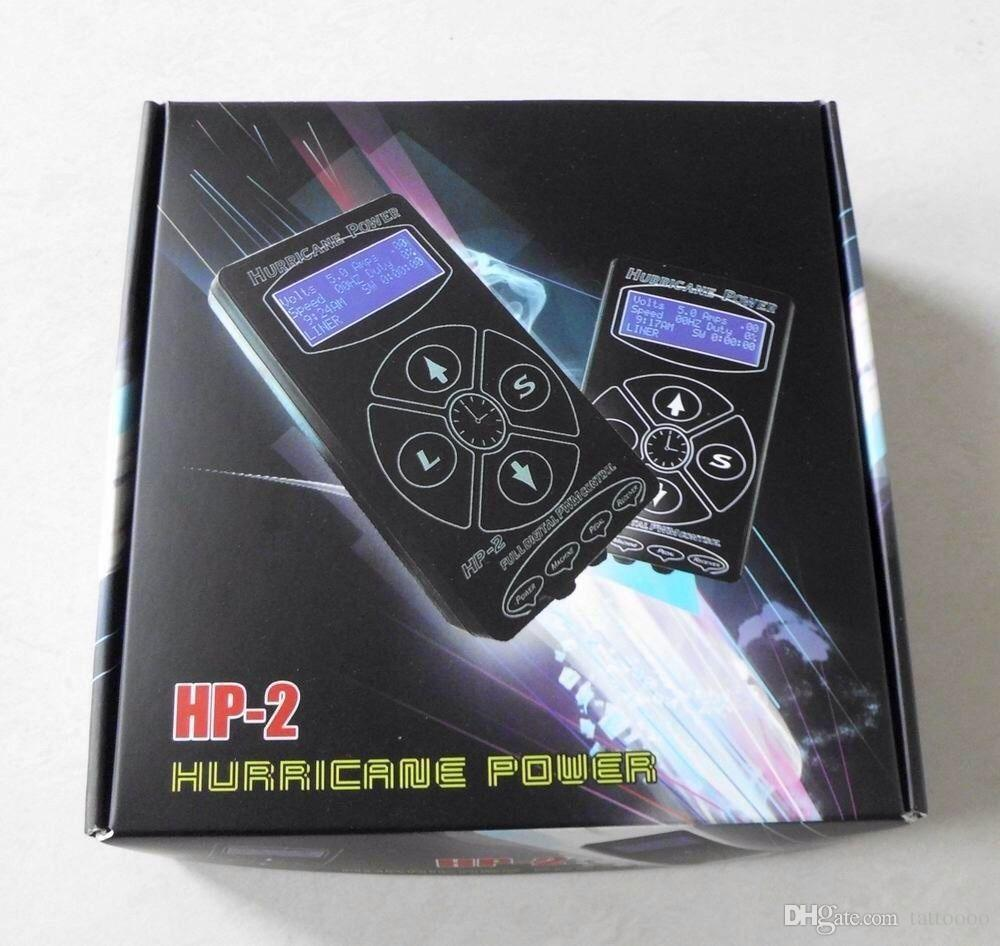 İkili Dijital LCD Siyah Hurricane Dövme Güç Kaynağı HP-2 Ucuz Fiyat P010DIY