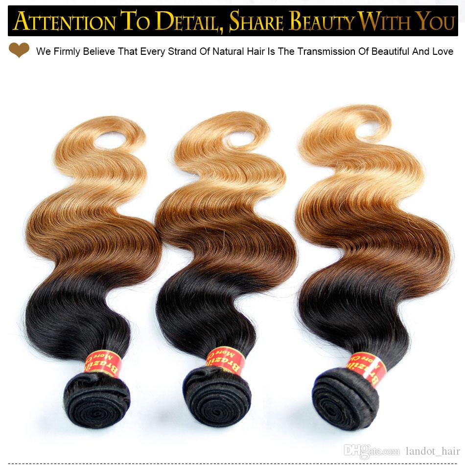 Ombre 인간의 머리카락 확장기 버진 브라질의 페루인 말레이시아 인디언 바디 웨이브 3 Three Tone Brown Blonde 1B / 4 / 27 # Ombre Hair Weave Bundles