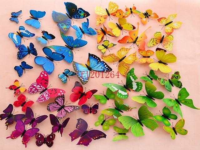 =  شحن مجاني / set 3D الفراشات ملصقات الحائط ملصقات الديكور 3D فراشة البلاستيكية القابلة للإزالة