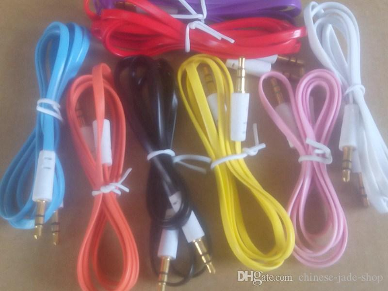 3.5mm de Áudio Estéreo AUX Cabo Flat Noodel fio Cords Jack Macho para Macho 1 m 3ft para o telefone Do Telefone Móvel 1500 pçs / lote