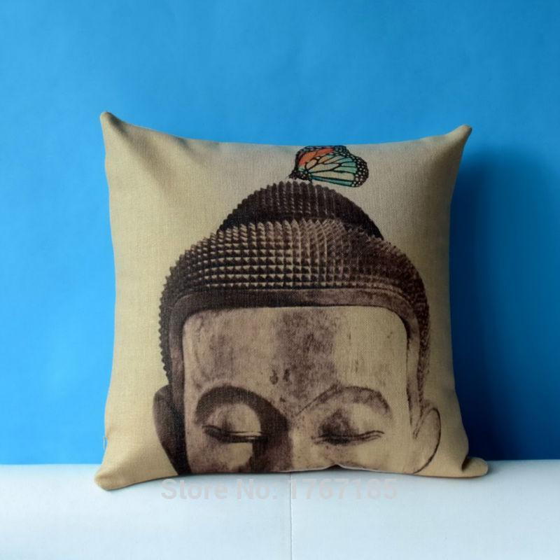Chinese Buddha Art Pillowcase Linen Cushion Zen And Butterfly Cool Buddha Decorative Pillows