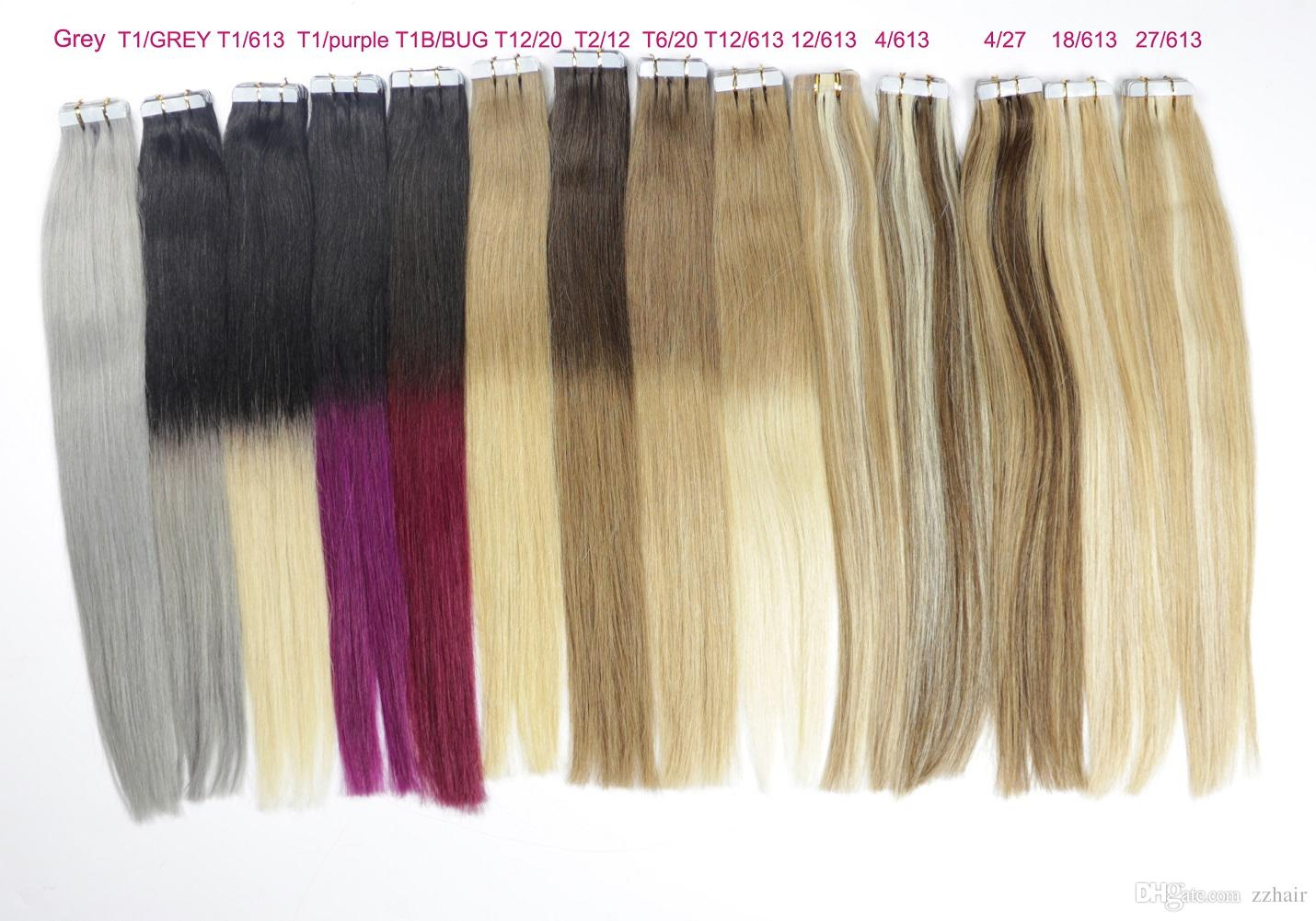 "ZZHAIR 14""-24"" Tape In Remy Hair 100% Human Hair Extensions /pack Tape In Hair Skin Weft 30g-70g"