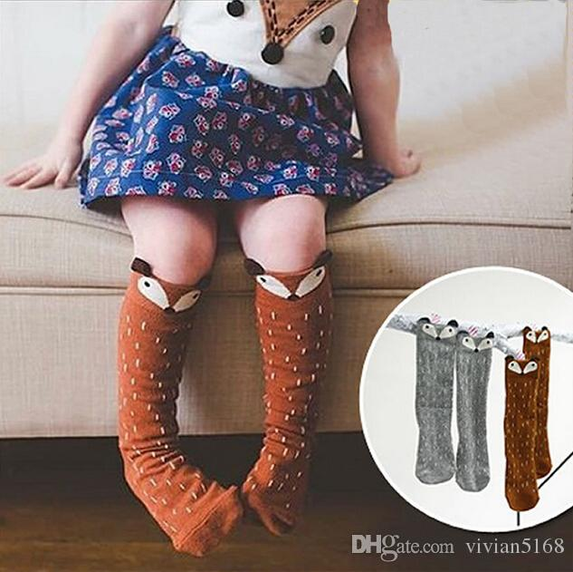Infant Cotton 3D fox stockings Toddlers Kids Girls Knee High Socks School Cotton Tights Striped Stockings for Girls 1-6 Years Drop Shipping