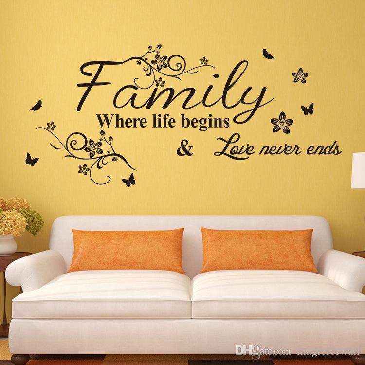 Familia de flores negras donde comienza la vida El amor nunca termina Cita de la pared Pegatinas de etiqueta Diciendo inglés Flor de ratán Arte mural Sala de estar Decoración de la pared