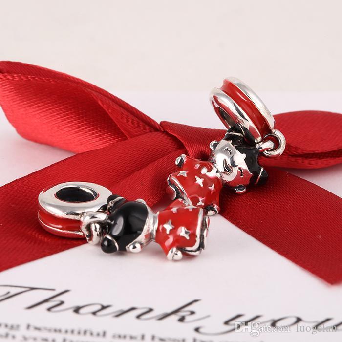 Serve para Pandora diy encantos pulseira 2015 nova 925 prata esterlina boneca chinesa dangle encantos esmalte preto vermelho país encantos para as mulheres jóias