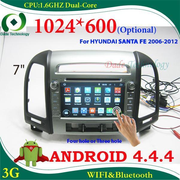 2 Din Android 4 4 Car Radio Gps Narigation For Hyundai Santa Fe Double Din Car Audio Car Stereo 1024 600 Optional