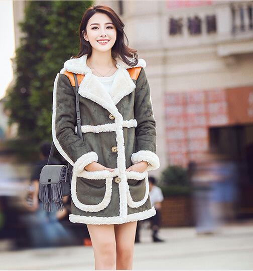 Women Winter Lamb Fur Jacket Coats 2015 New Fashion Lamb's Wool Suede Motorcycle Womens Clothing Long Thick Female Cotton Jacket Fur Coat